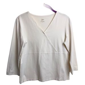J. Jill Supersoft Crossover Tee Creamy Off White